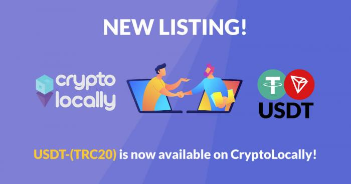 P2P trading platform CryptoLocally now supports USDT-TRC20