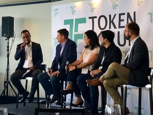 "The ""Mobilizing Social Impact In Blockchain"" panel included (left to right: Alex Ortiz, Mike Cartwright, Alexsandra Guerra, Raustin Memon and Dominick Garrett."