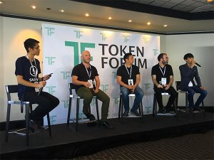 "On the ""When to use a Token to Power a dApp"" was (left to right): Kory Hoang, Jason White, Robert Mao, Adam Gerring, and Simon Yu."