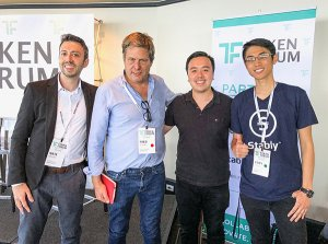 The Stablecoins Panel featured (left to right): Nate Whitehill, Fred Krueger, Justin Wu, and Kory Hoang