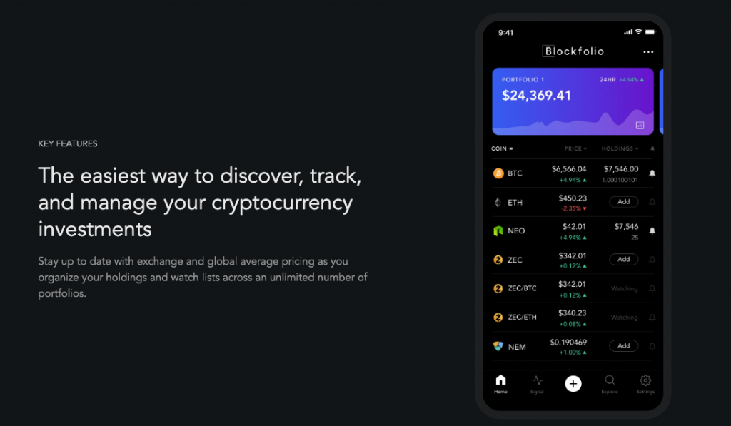 Blockfolio Cryptocurrency Portfolio
