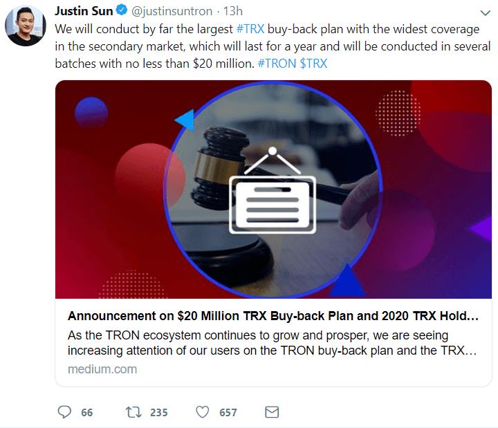 Justin Sun TRX buyback announcement