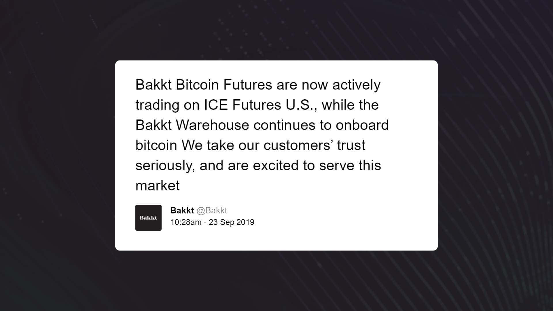 Bakkt bitcoin futures market officially launched, clearing the first batch of trades