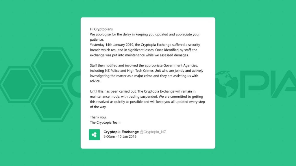 Cryptopia announces it got hacked