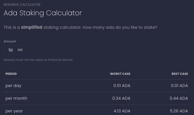 ADA staking calculator estimates 4.13%-5.26% APY