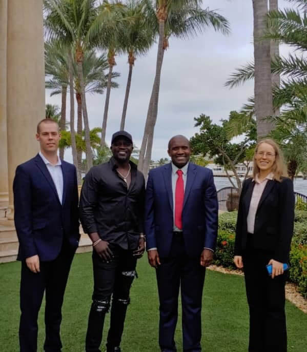 Akon with Julius Mwale at Mwale Medical and Technology city in Kenya