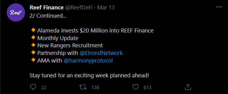 Reef Finance tweet