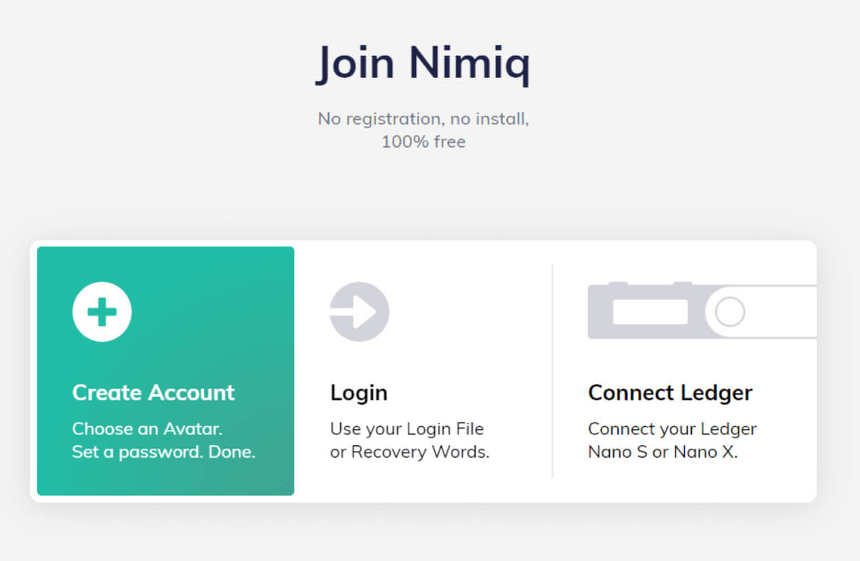 The Nimiq wallet page. Image: Nimiq