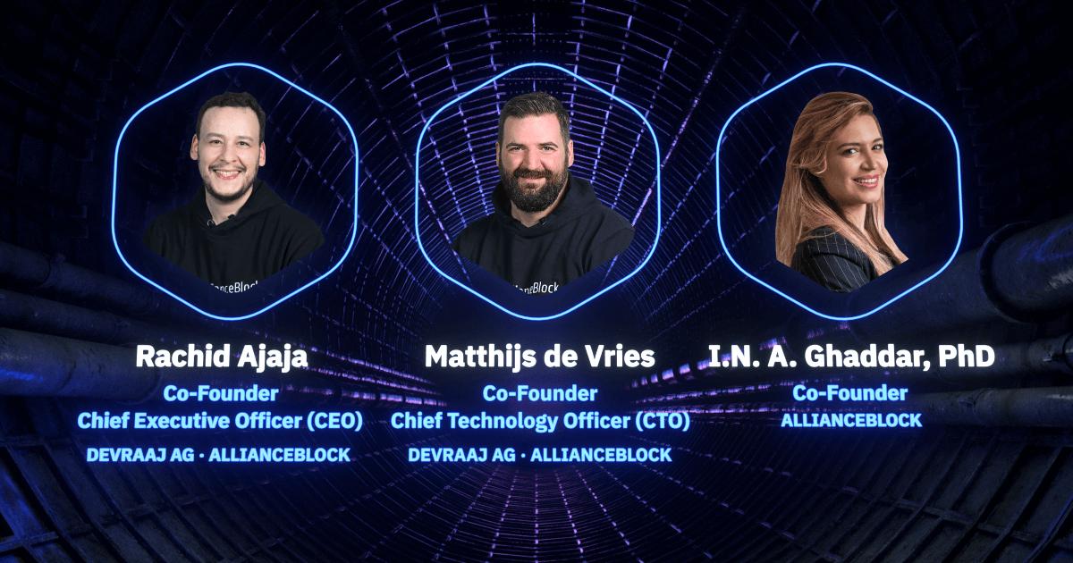 The three Co-Founders of AllianceBlock: Rachid Ajaja, Matthijs de Vries, and Amber Ghaddar