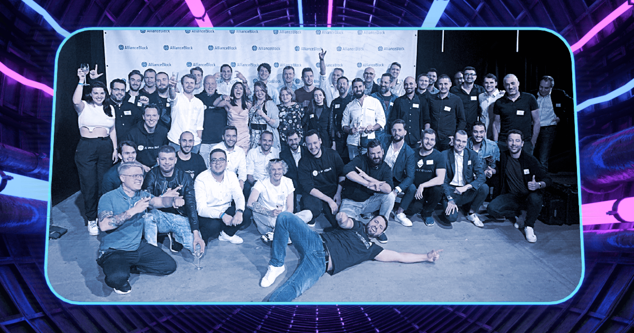 AllianceBlock team photo at the #WenZug event in Zug, Switzerland to celebrate the opening of our CryptoValley HQ.