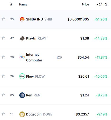Crypto meme token Shiba Inu leads top-100